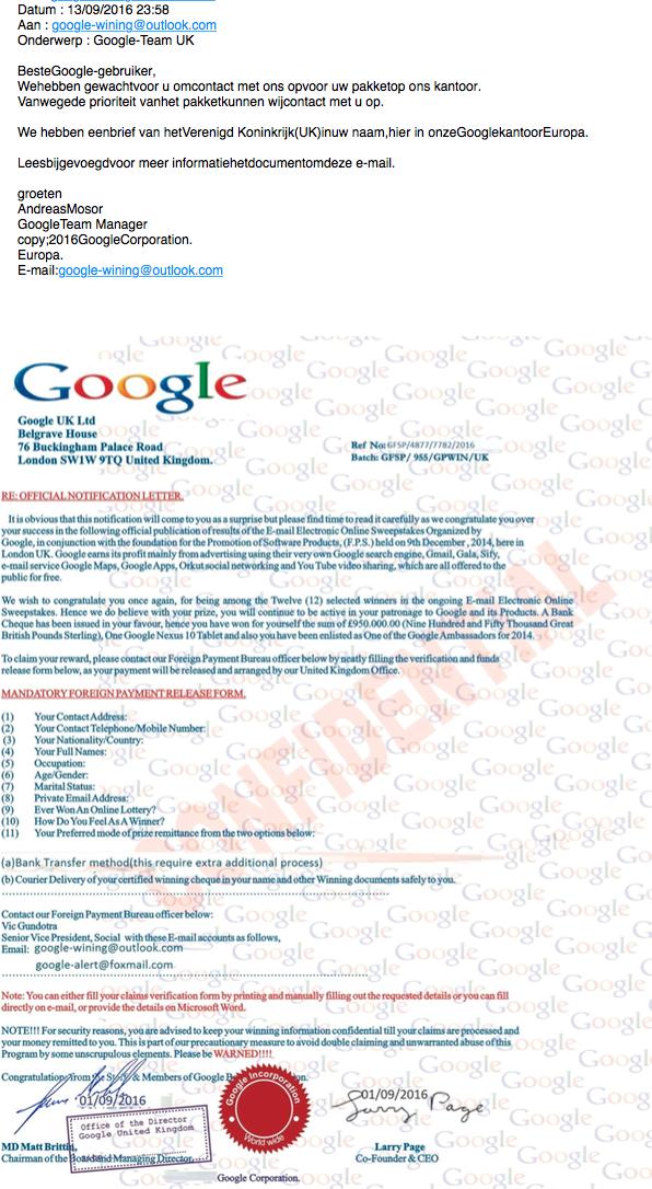 Nepmail met felicitatie uit naam van Google