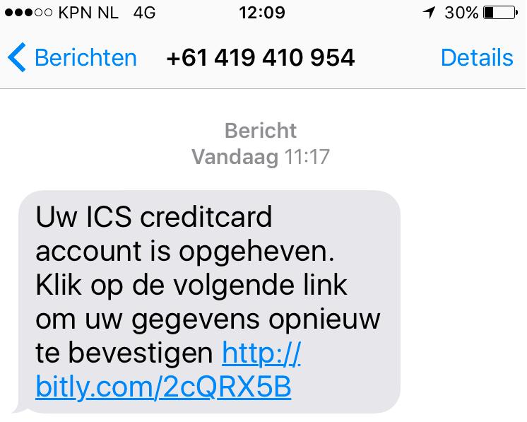 Pas op voor sms door 'ICS'