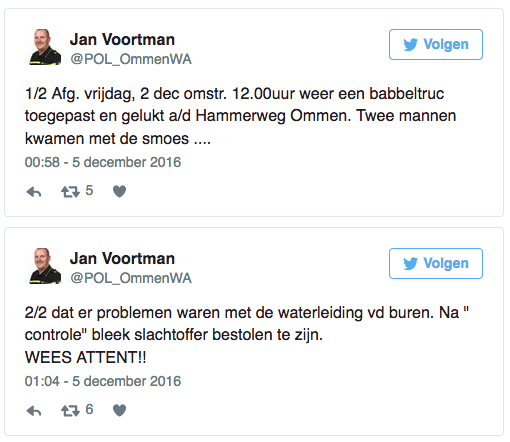Babbeltruc over problemen met waterleiding