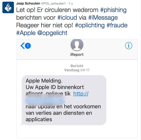Kijk uit voor phishing-sms 'Apple'