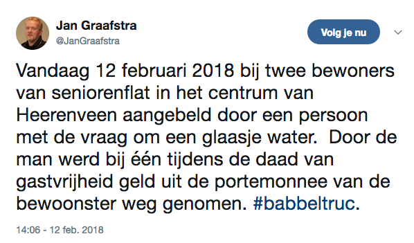 Babbeltruc met 'glaasje water' in Heerenveen
