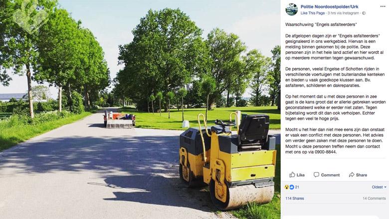 Politie Noordoostpolder: doe geen zaken met 'Engelse asfalteerders'