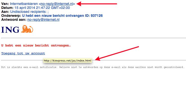 Valse mail ING: 'nieuw bericht ontvangen'