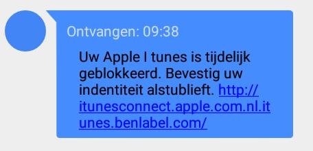Verwijder sms 'Apple iTunes' over bevestigen identiteit