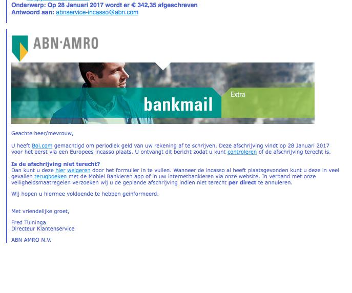 Pas op voor valse e-mail 'ABN AMRO'