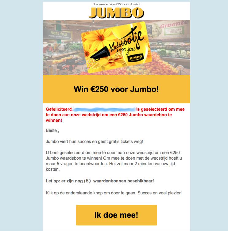 'Jumbo' stuurt valse e-mails over wedstrijd