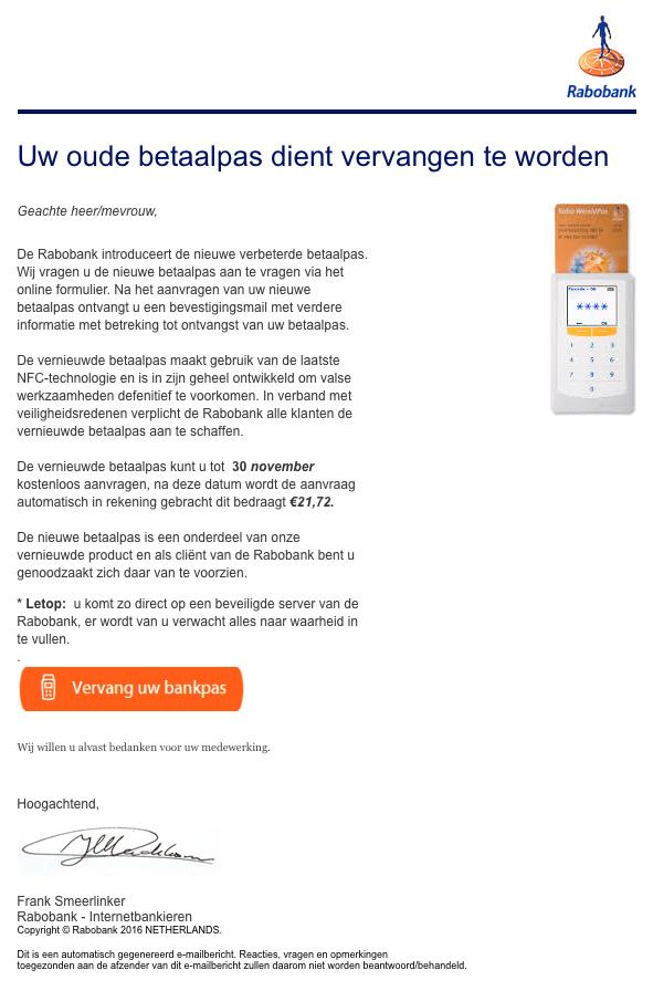 Opnieuw valse e-mail Rabobank