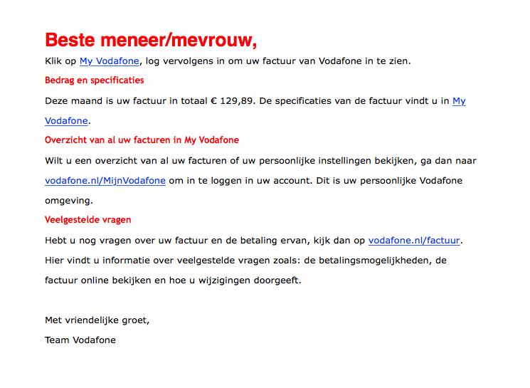 Valse e-mail 'My Vodafone'