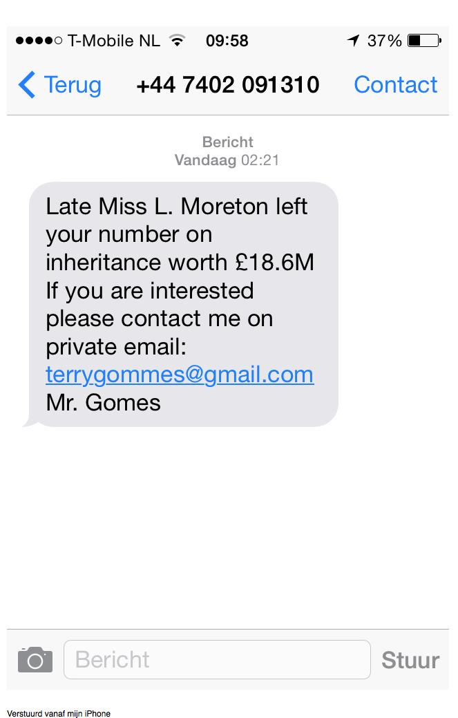Pas op voor sms over erfenis