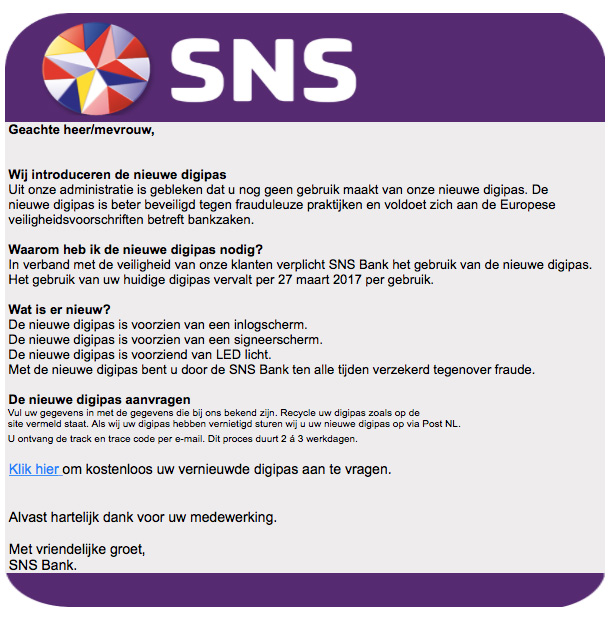 E-mail 'SNS' over nieuwe digipas is vals