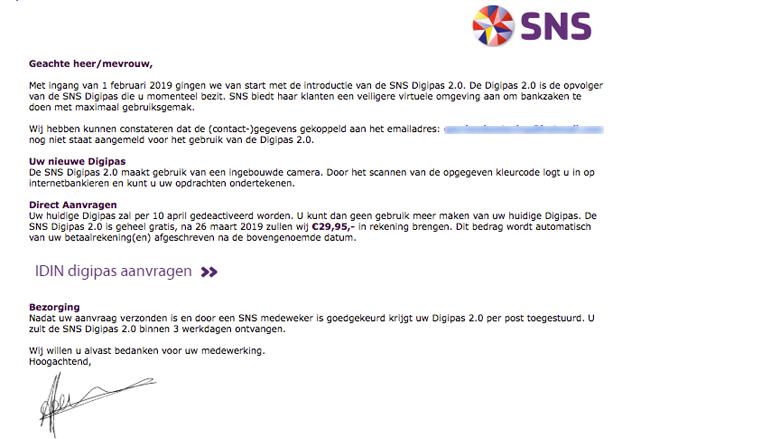 'SNS' e-mail gekregen? Het kan phishingmail zijn
