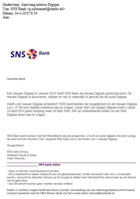 Mail SNS Digipas is vals!