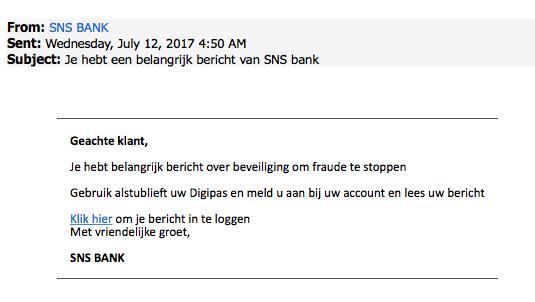 Valse e-mail 'SNS' over 'belangrijk bericht' in omloop
