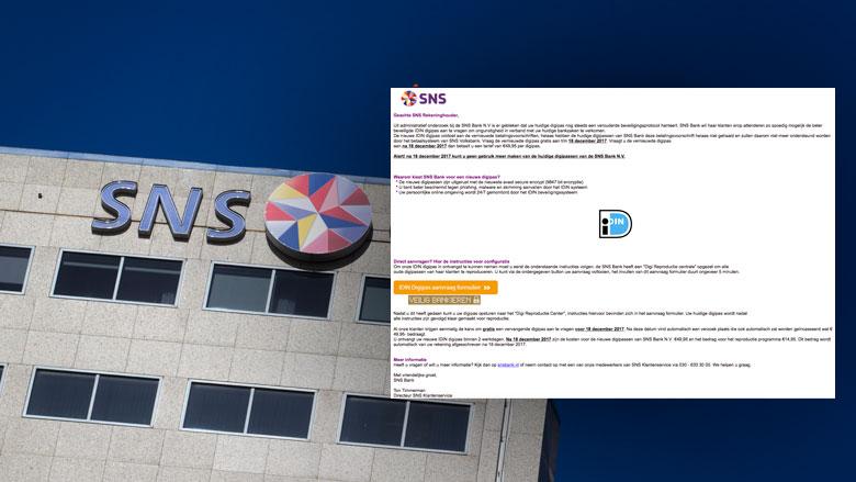 Mail over vernieuwde digipas 'SNS Bank' is phishing