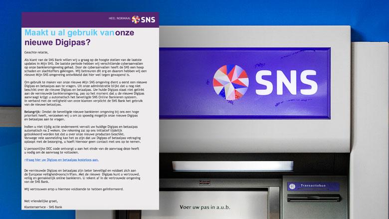 Phishingmail uit naam SNS blijft populair
