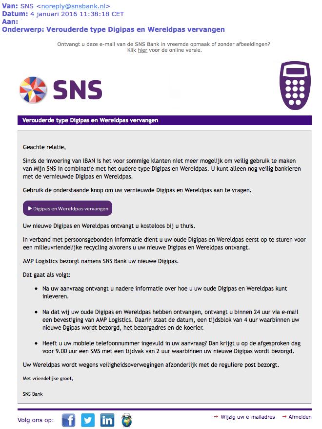 Nepmail SNS: 'verouderde pas vervangen'