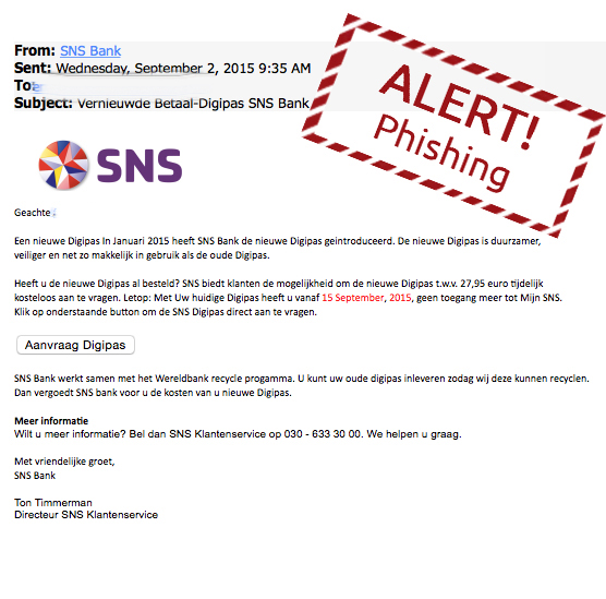 Mail SNS Bank over nieuwe pas is nep!