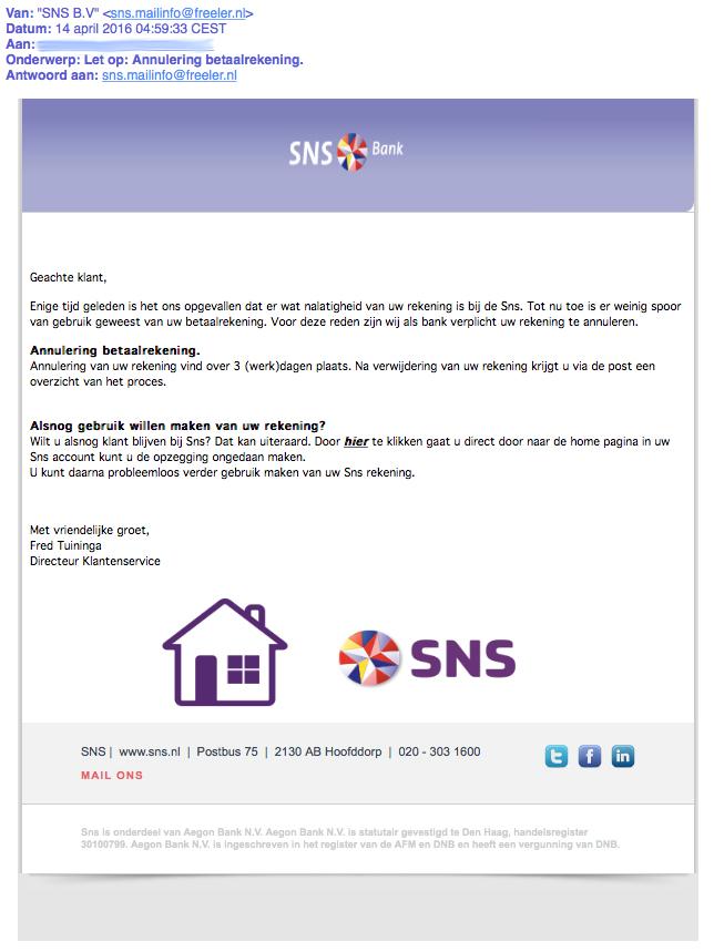 'Annulering betaalrekening' uit naam van SNS is nep
