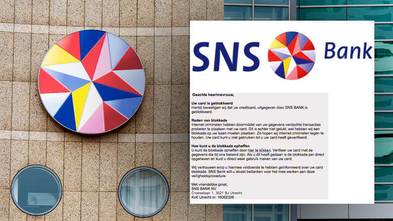Phishingmail SNS Bank: 'Uw creditcard is geblokkeerd'