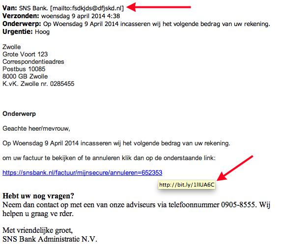 Pas op voor valse mails over incasseren bedrag!