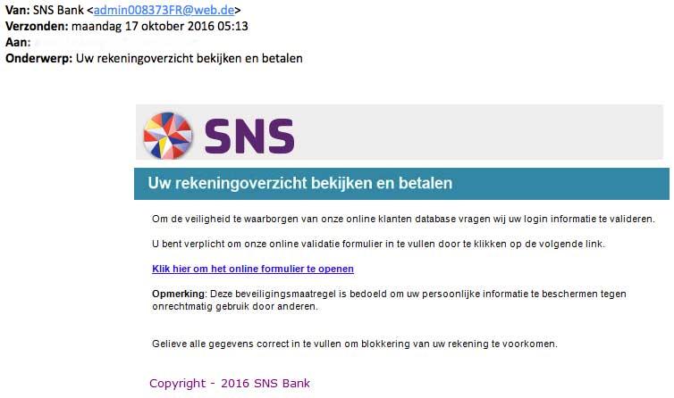 Phishingmail uit naam van 'SNS Bank'