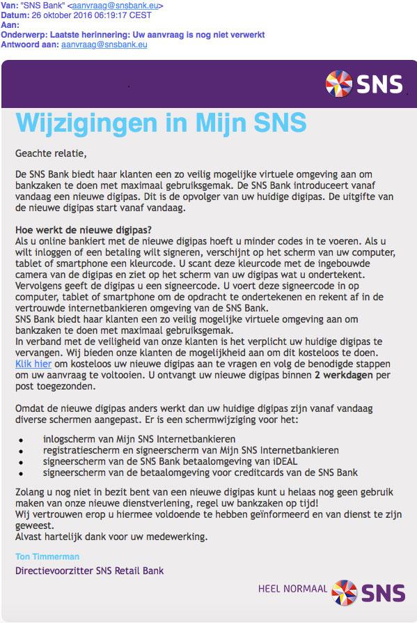 Phishingmail 'SNS' over nieuwe digipas