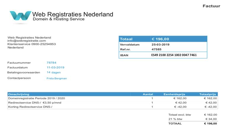 Pas op! Rekening 'Web Registraties Nederland' is spookfactuur