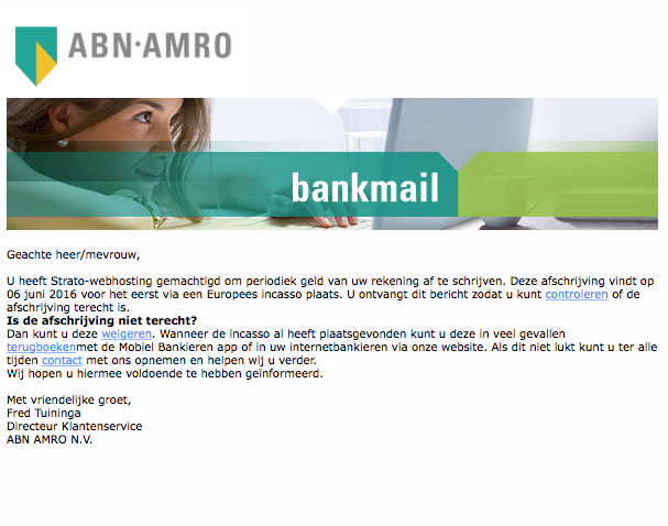 E-mail 'ABN AMRO' over geplande afschrijving is nep