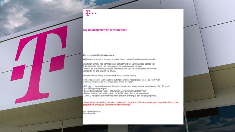 Pas op voor e-mail over betalingstermijn uit naam van T-Mobile