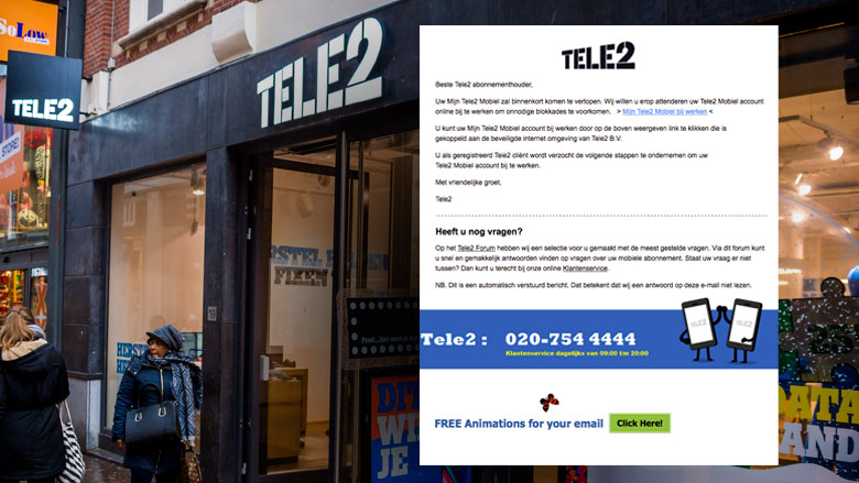 Pas op voor phishingmail 'Tele2' over bijwerken account