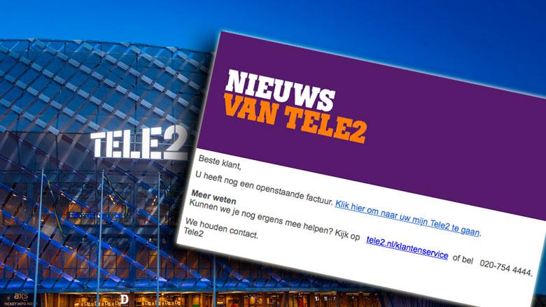 Bericht uit naam van Tele2 over openstaande factuur is phishing