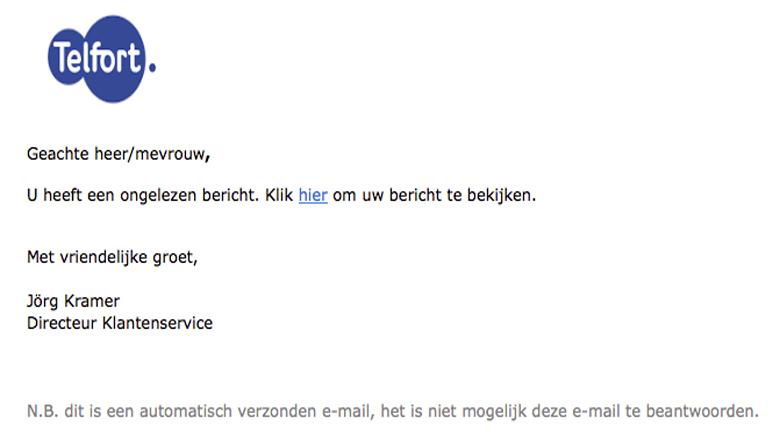 Telfort e-mail is een phishingmail