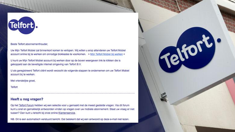 Valse e-mail: 'Uw mijn Telfort mobiel zal binnenkort verlopen'