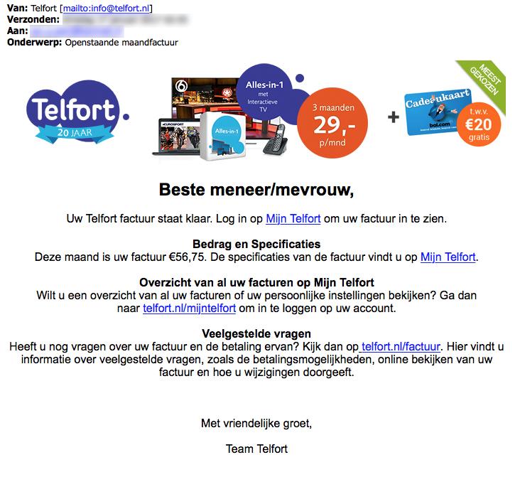Pas op voor valse e-mails 'Telfort'
