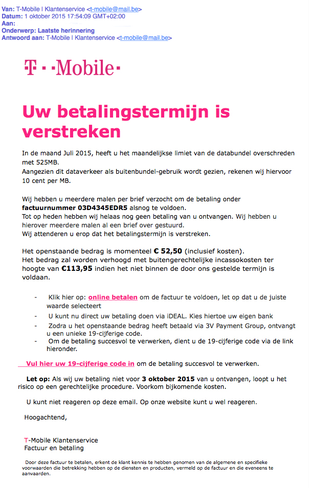 Valse mail T-Mobile over verstreken betalingstermijn