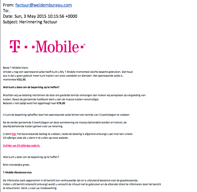 Valse mail T-mobile: 'Herinnering factuur'
