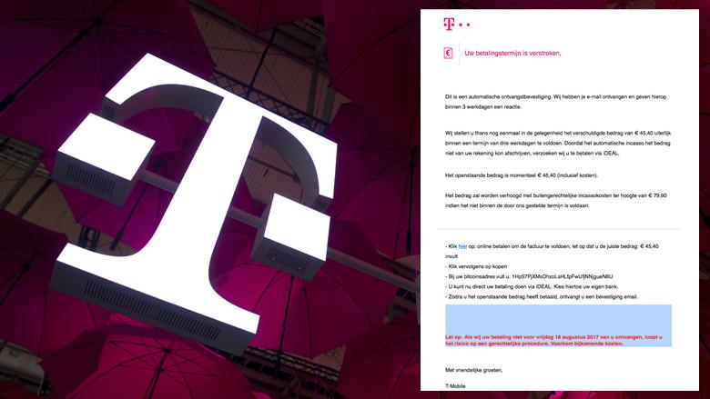 E-mail 'herinnering factuur' niet van T-Mobile