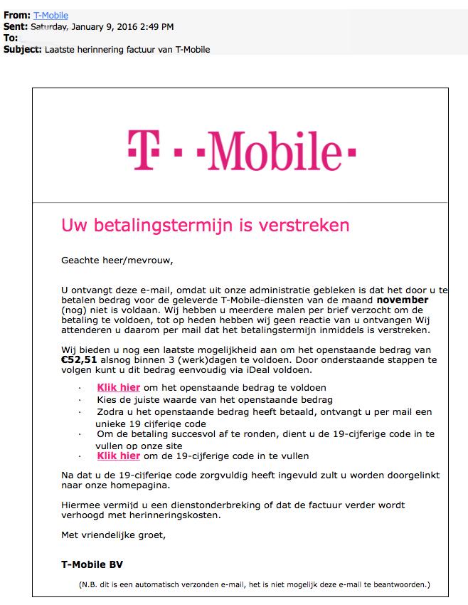 Pas op voor nepfactuur 'T-Mobile'