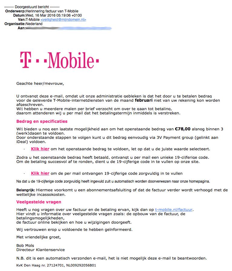 Phishingmail 'T-Mobile' in omloop