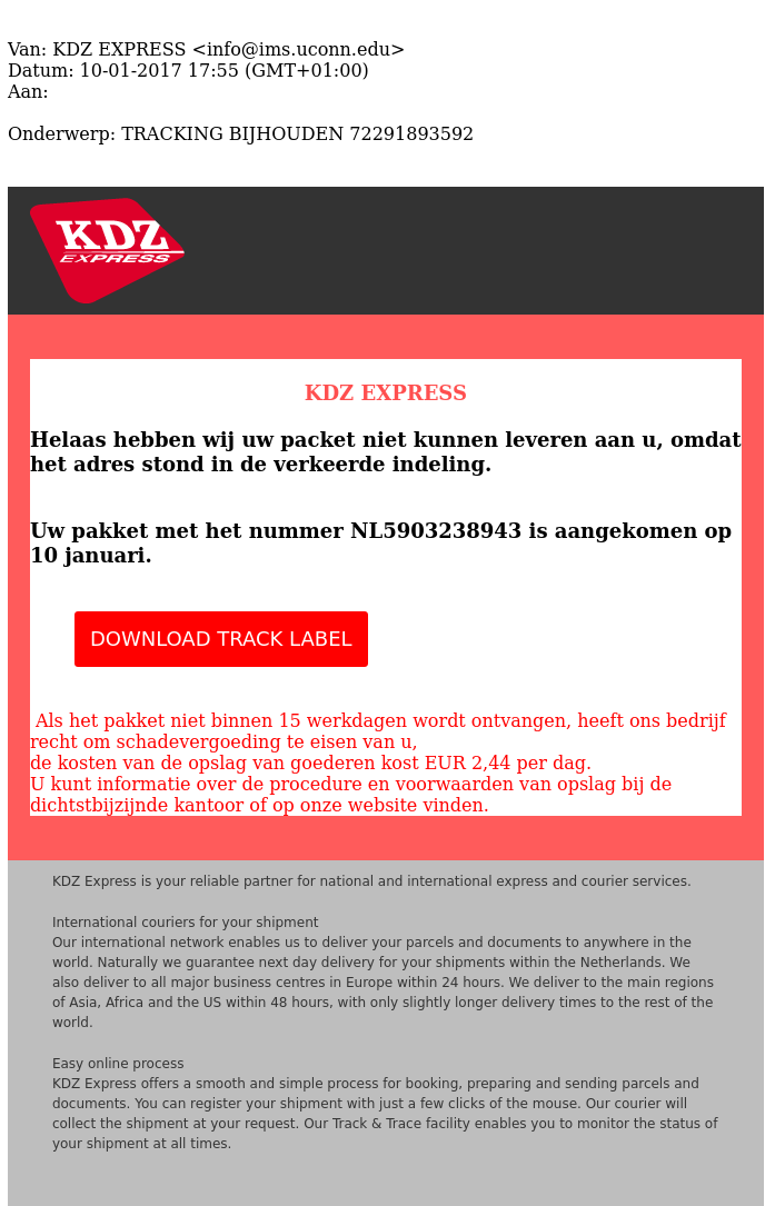 Malware-mail 'KDZ Express' in omloop