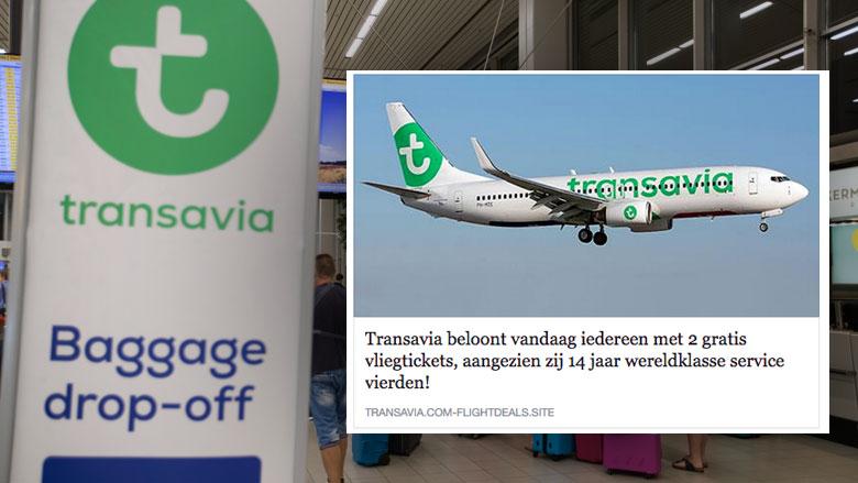 Let goed op! Naam Transavia misbruikt in Facebook-winactie