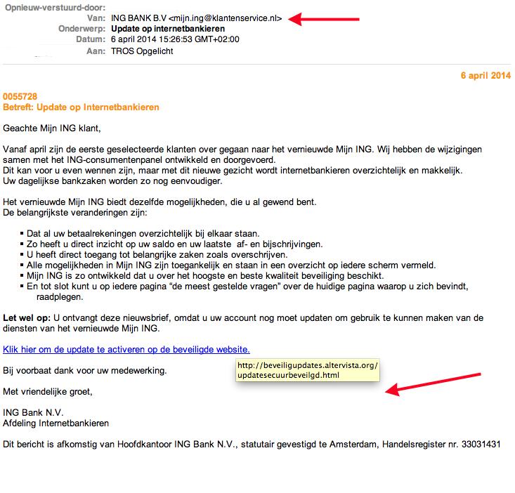 Valse mail ING: 'Update op Internetbankieren'