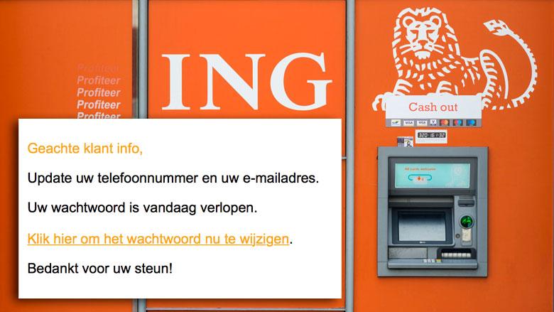 Let op! Bericht 'ING' over verlopen wachtwoord is phishingmail