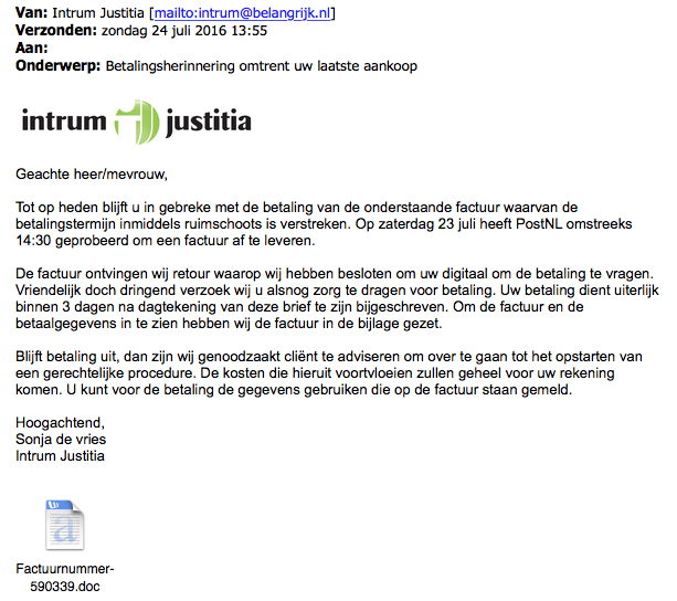 Malware verstopt in 'factuur' Intrum Justitia