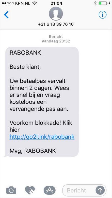Opnieuw phishing-sms 'Rabobank' in omloop