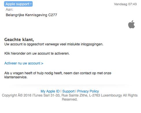 Valse e-mail 'Apple': account opgeschort