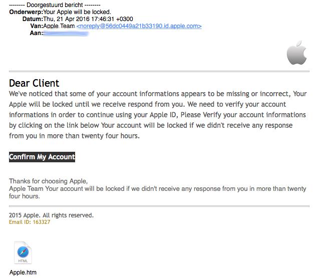 Valse e-mail uit naam van Apple