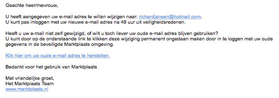 Trap niet in phishingmail 'Marktplaats'