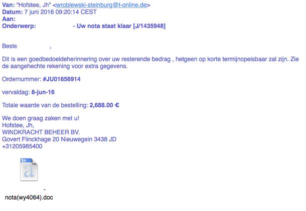 Vreemde mailtjes over 'nota' met malware