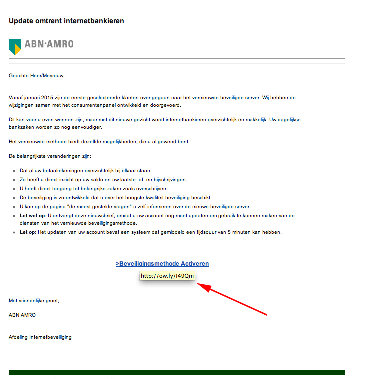 Valse mail ABN AMRO: 'Beveiligde server'